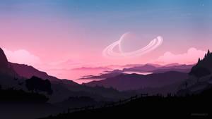 Moon sunset landscape
