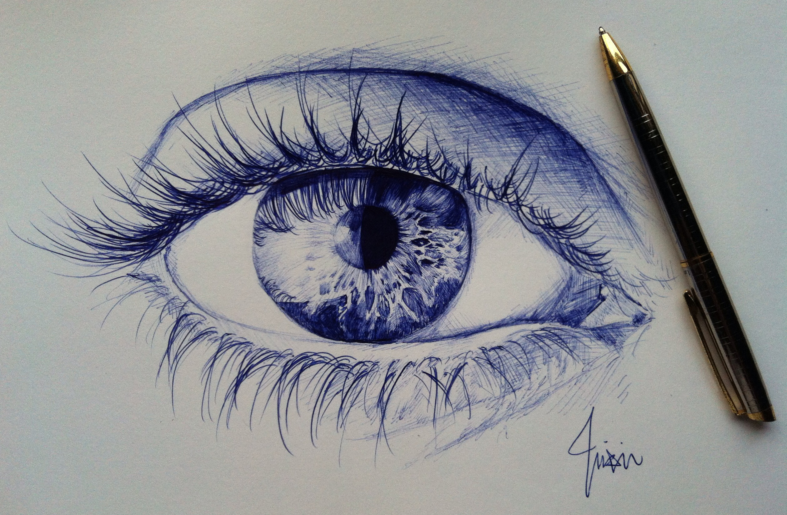 Eye ballpoint pen drawing by zhixintay on deviantart for Cool easy pen drawings