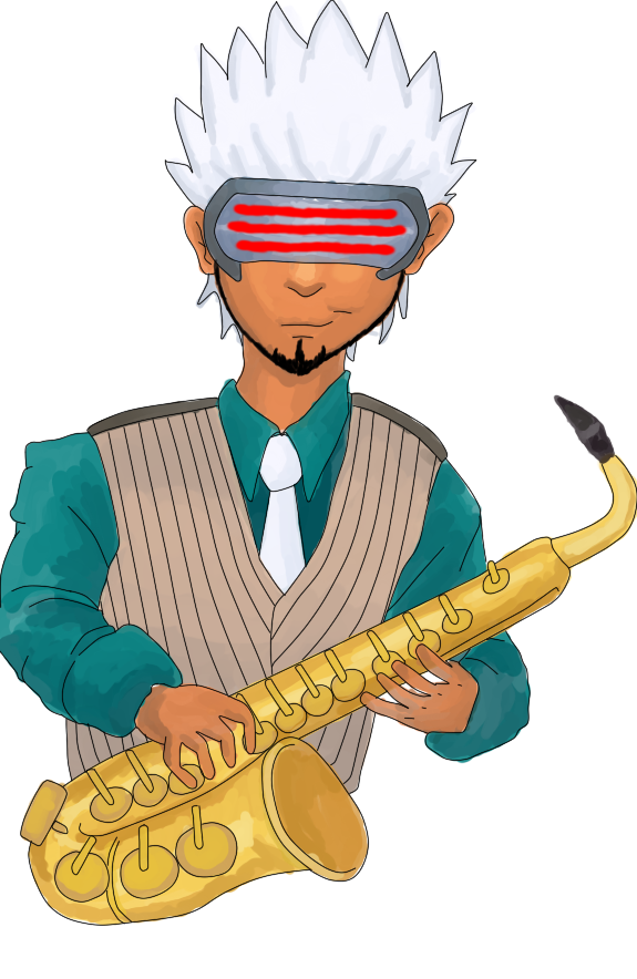 Saxophone player Godot - Colored by j3-proto