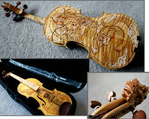 Violin with Dragon Design by Hollow Moon Art
