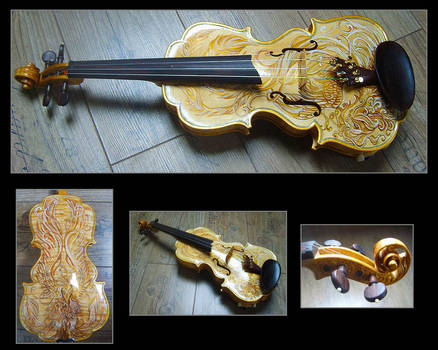Violin for Kimberley with Phoenix design by deviantviolins