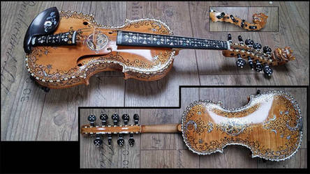 Hardanger fiddle with unique design and dragonhead