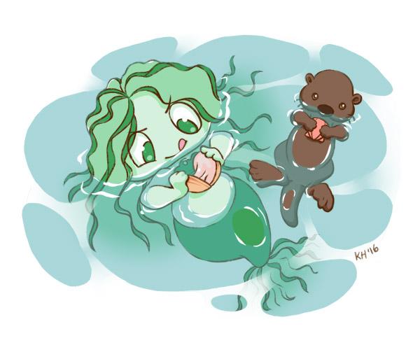 Kelpie with Clam by katiesketch