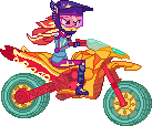 Sunset Shimmer in her motorcycle by ToonAlexSora007