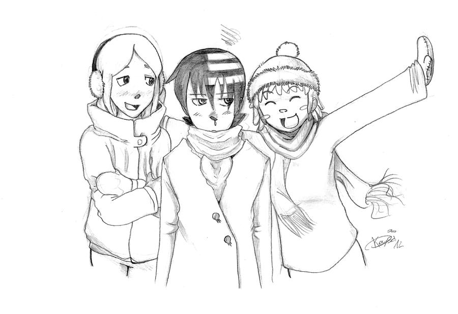 Winter: Kid, Liz and Patty by KeysaMoguri