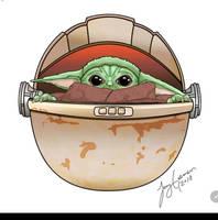 Baby Yoda from Mandalorian fan by jenny gorman art
