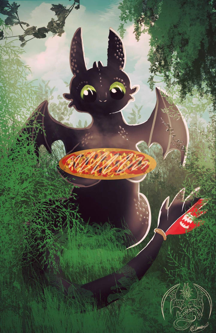 Toothless likes fish on pizza too by Sun-Dragoness