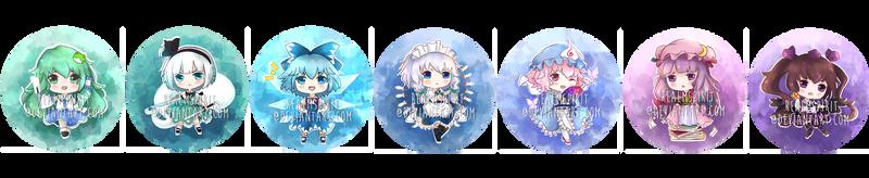 Touhou Chibi Badge Set 2 by RealmSpirit