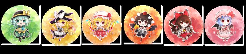Touhou Chibi Badge Set 1 by RealmSpirit