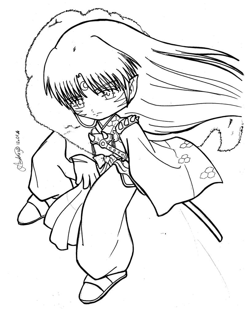 Inuyasha coloring book - Chibi Sesshomaru Inuyasha By Tifayuy