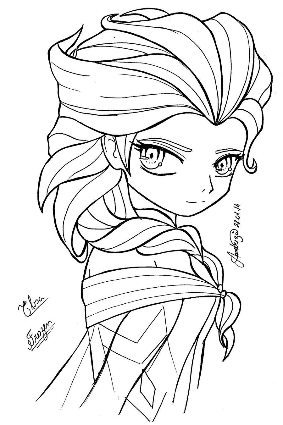 Coloring pages queen elsa - Queen Elsa Frozen By Tifayuy