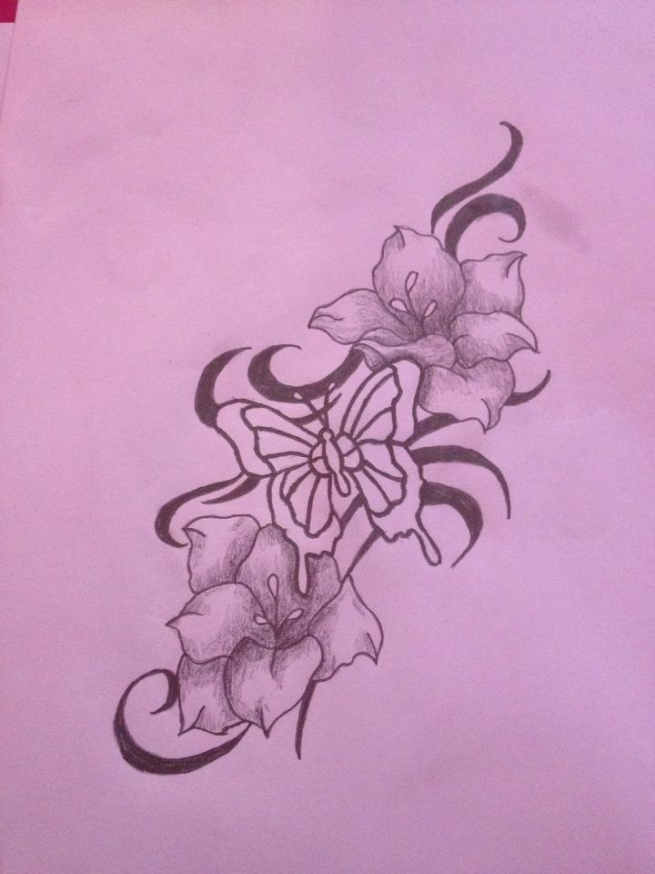 Modify photo size butterfly flower tattoo designs free for Flower and butterfly tattoo