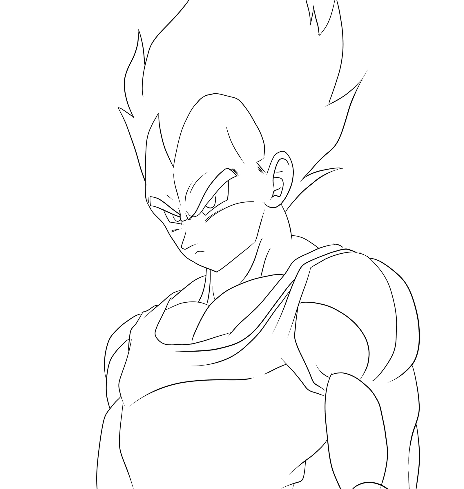 Vegeta line art by guysanx on deviantart for Vegeta coloring pages