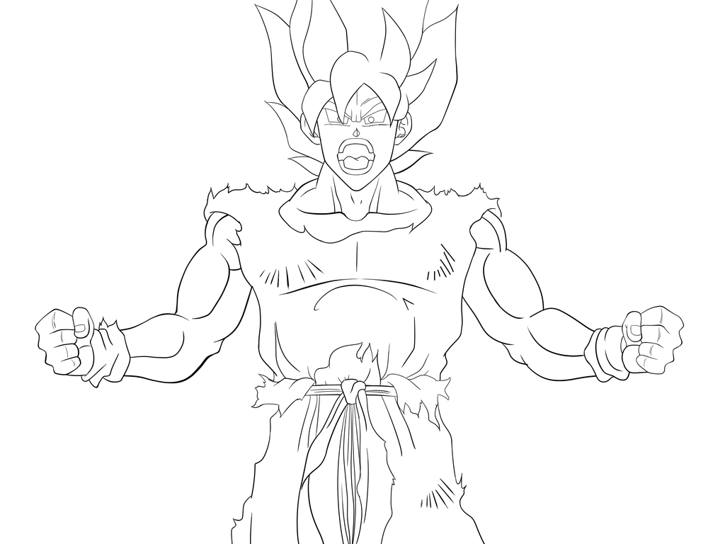 Line Art WIP: SSJ Goku Charging By GuySanX On DeviantArt