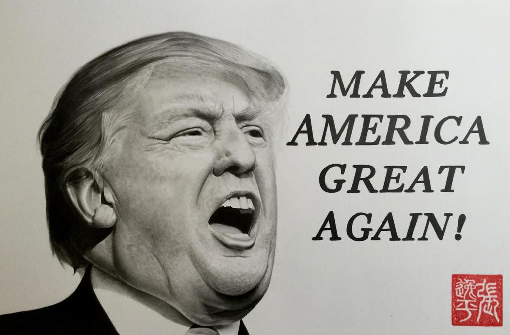 Donald trump portrait make america great again by for Make america great again wallpaper