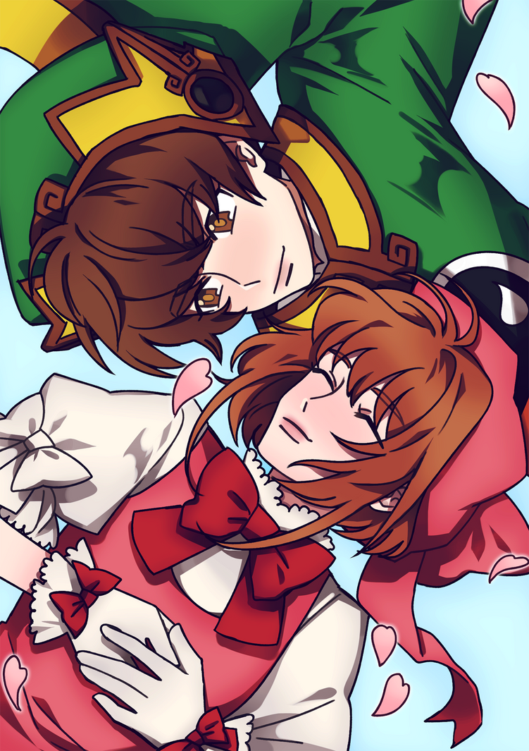 Sakura and Syaoran by chewbeary