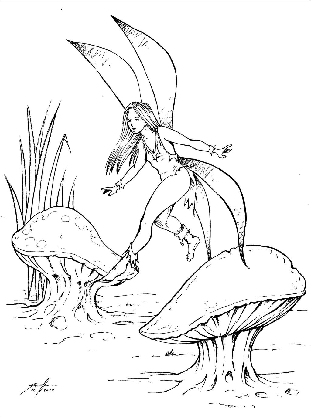 How to draw fairy sitting for Fairy on a mushroom drawing