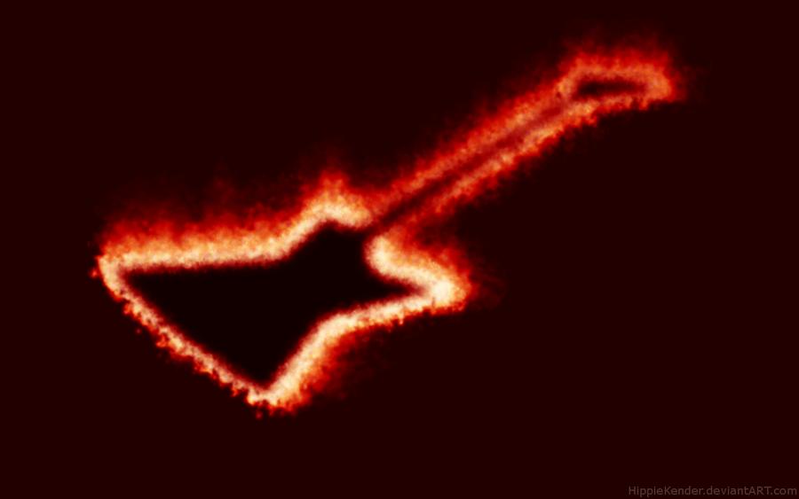 Flaming Guitars Digital Art Hd Wallpaper: Flaming Guitar By HippieKender On DeviantArt