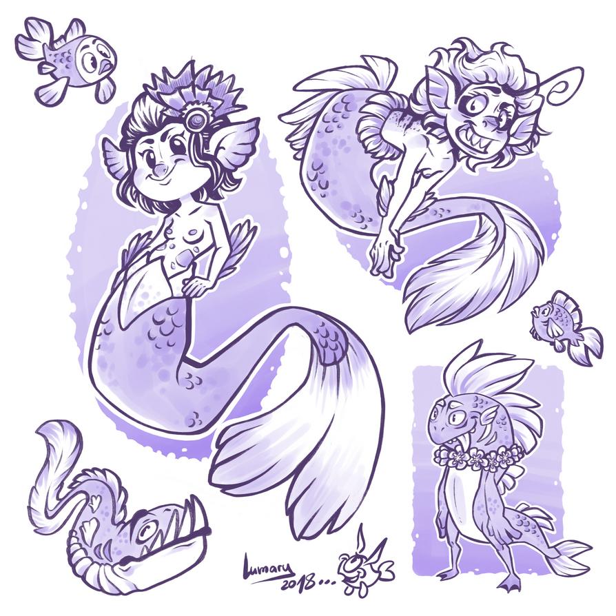 Mermaid doodles by Lumary92