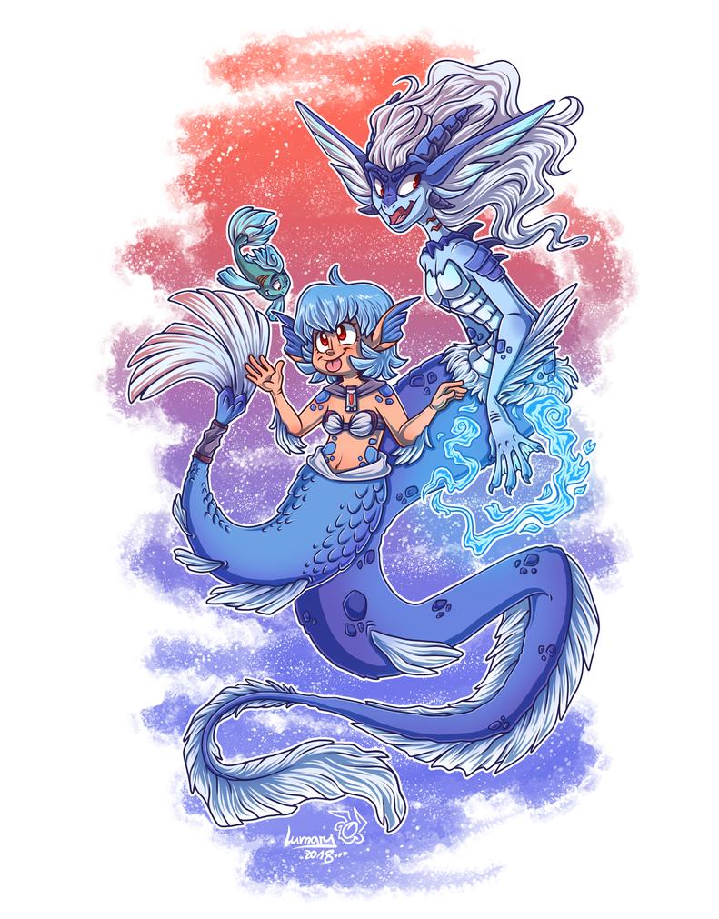 Leyla and Azura - mermaid version by Lumary92