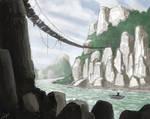jungle river and cliffs