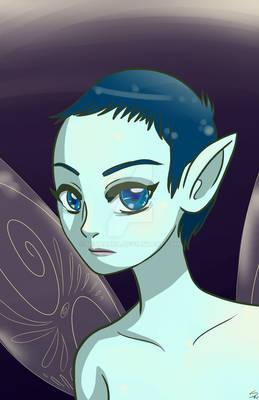 Fairy with blue hair