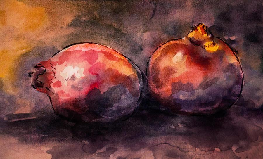 Pomegranates still life by zummerfish