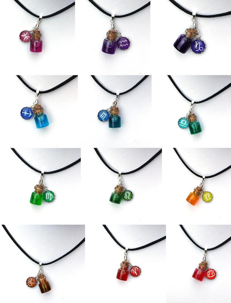 Zodiac bottle necklaces by FrozenNote
