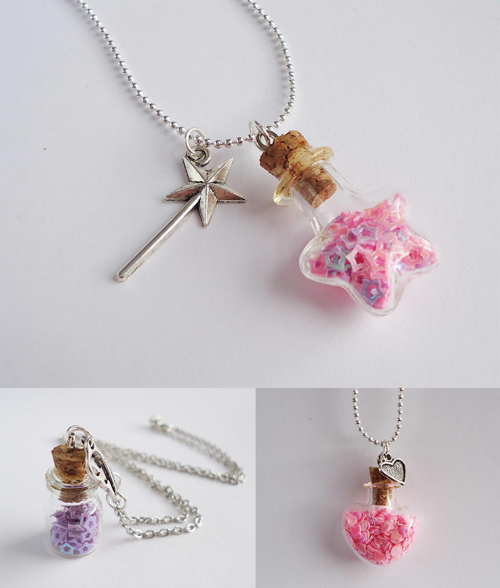 Cutie bottle necklaces by FrozenNote