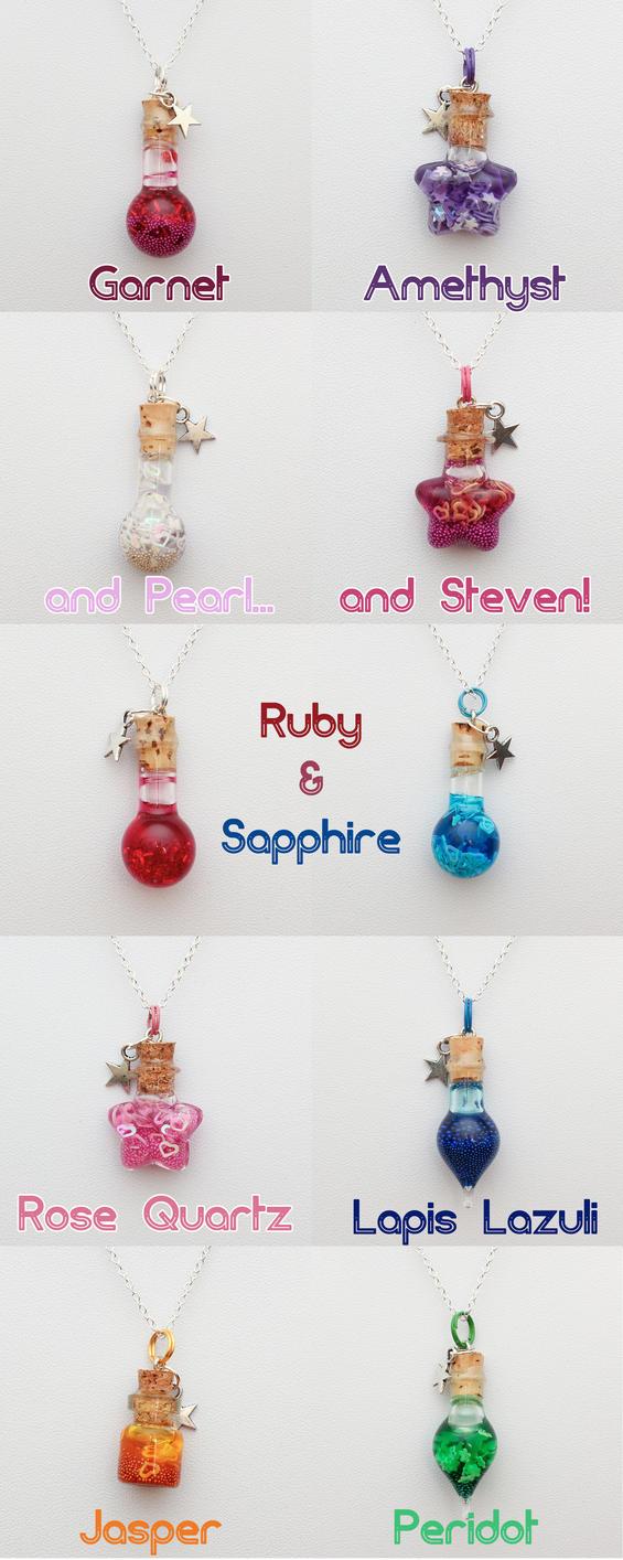 Steven Universe Crystal Gem bottle necklaces by FrozenNote