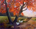 village path in autumn