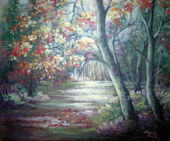 autumn evening by Hydrangeas