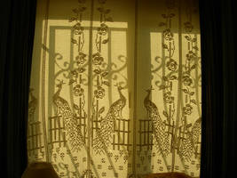 my grandma's handmade curtain by Hydrangeas