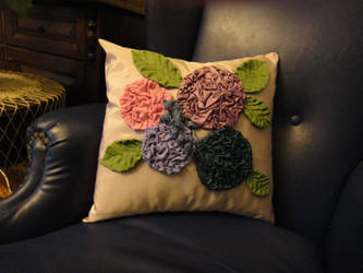 my handmade pillow by Hydrangeas