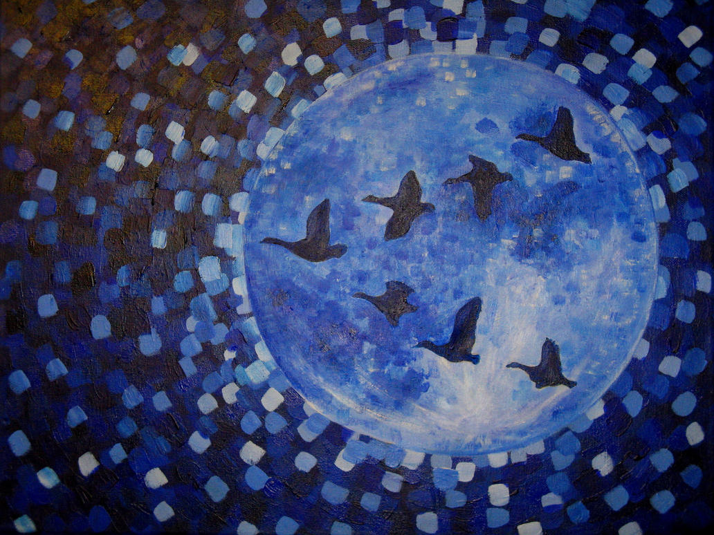 Geese Flying Over the Moon by Souzay