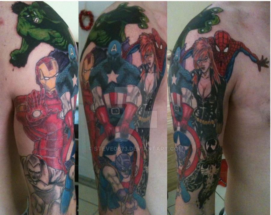 Marvel sleeve by steve0673 on deviantart for Marvel sleeve tattoo black and white