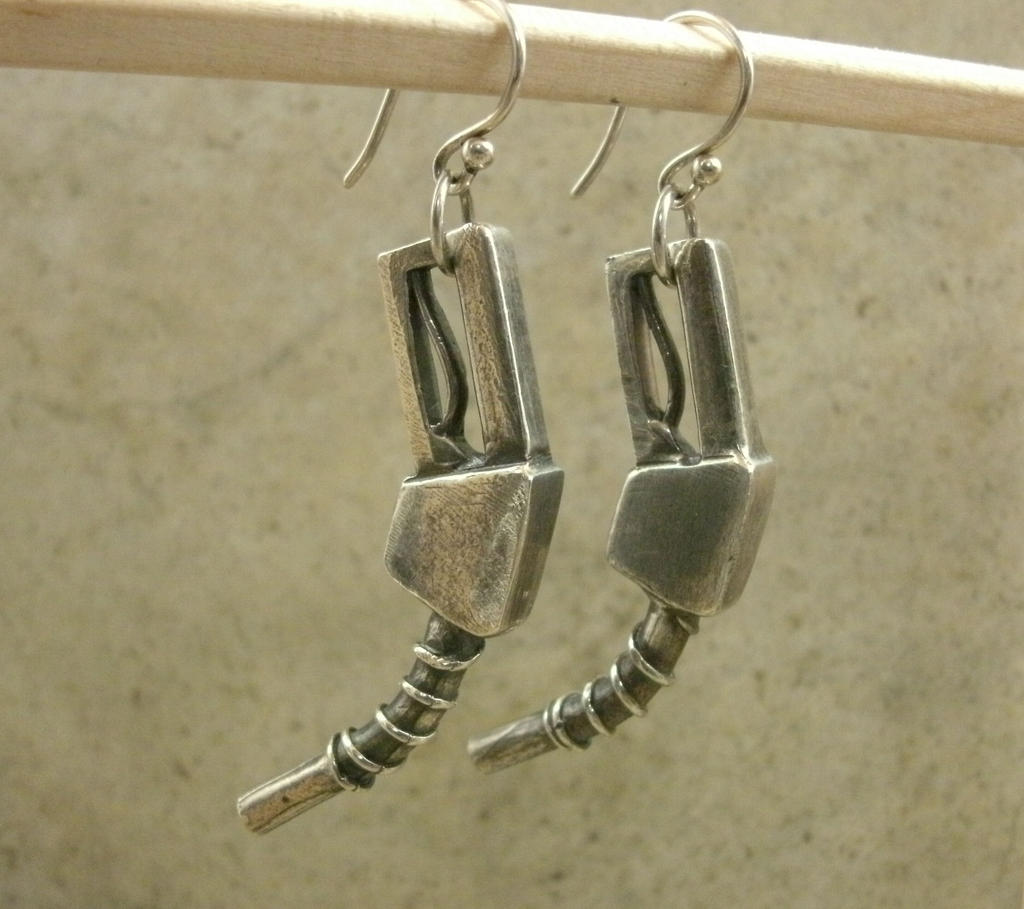 Gas Pump Nozzle Earrings in Sterling Silver by PartsbyNC ...