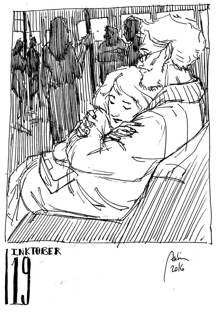 Inktober 03 - ALONE IN THE CROWD by Hykhen