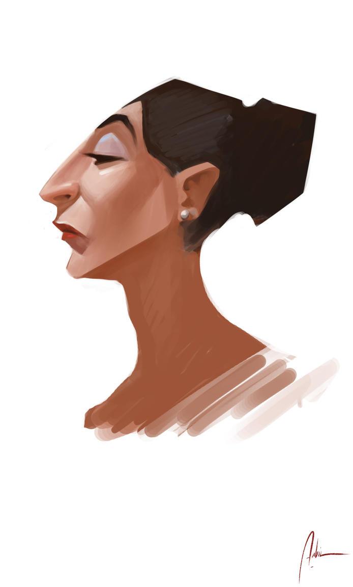 Sketch - Lady Profile by Hykhen