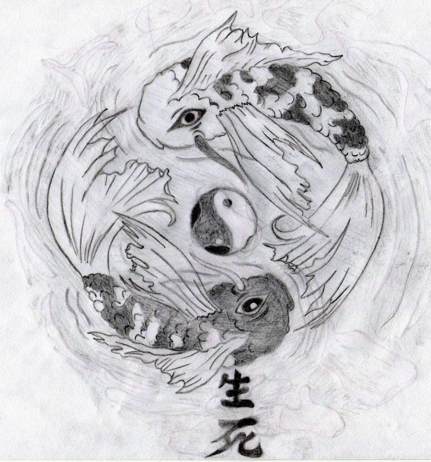 Yin yang tattoo sketch the image kid for Yin and yang koi fish