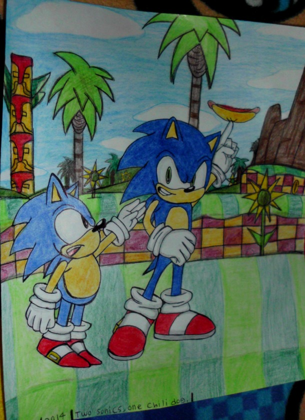Two Sonics, One Chilidog by TheCoolCosplayer22