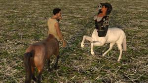 Centaur couple flirting