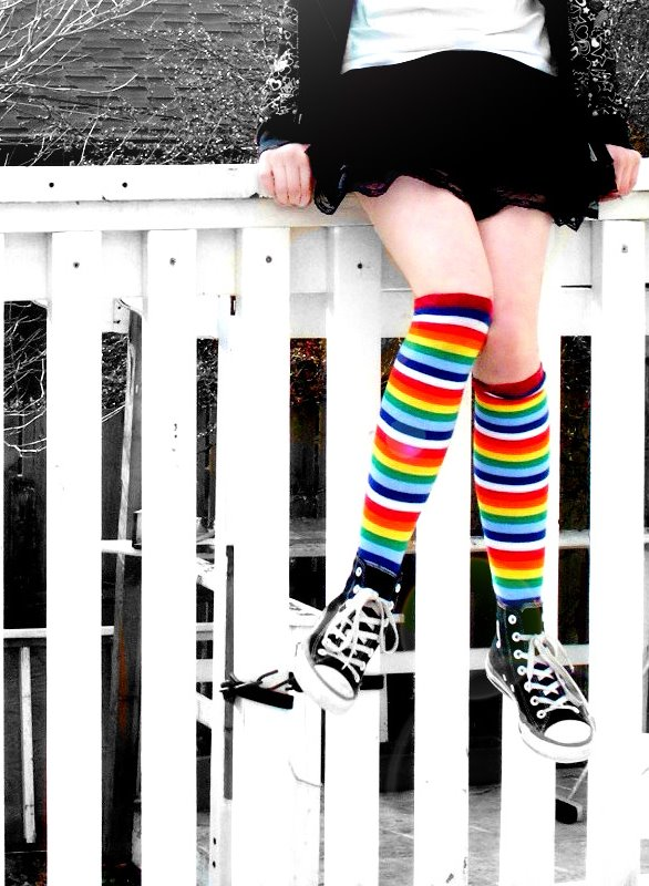 Rainbow socks and feet that rock