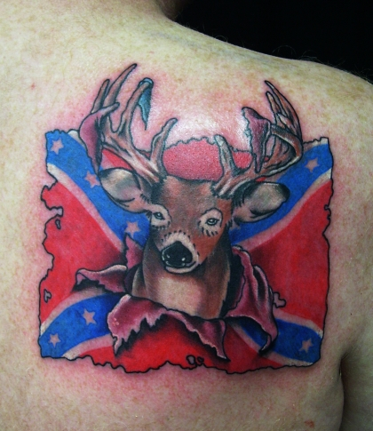 Rebel Flag Tattoos on Confederate Flag With A Buck By  Ericscsavnickitattoo On Deviantart