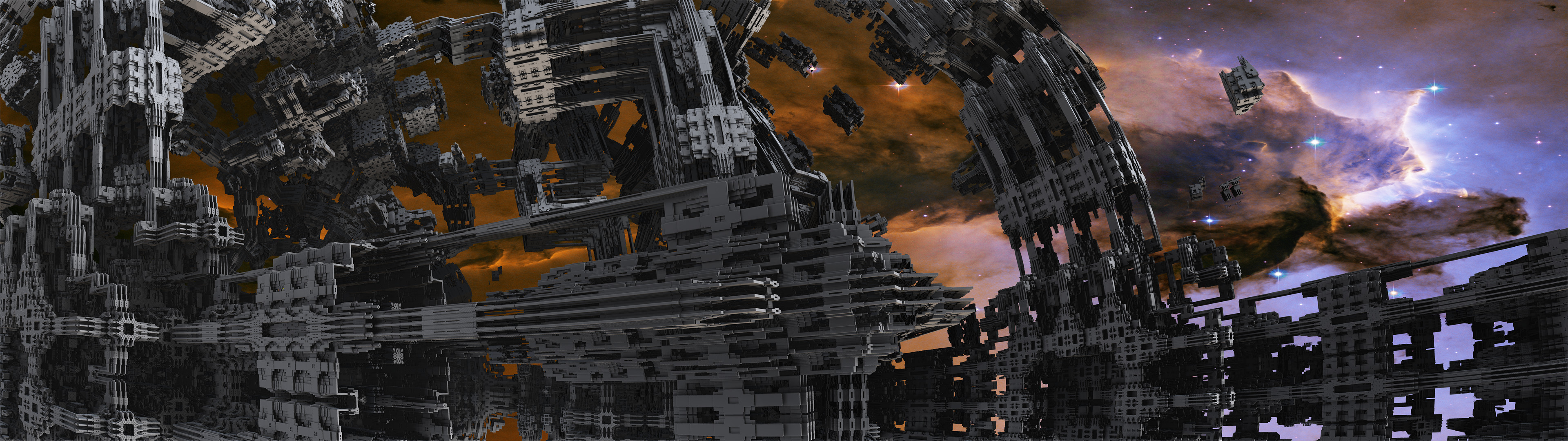 Dual Display Fractal Sci Fi By Grahamsym On Deviantart