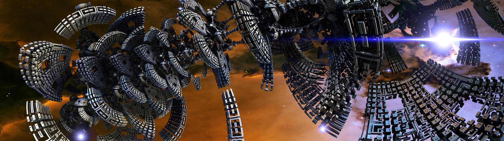 Dual Display Fractal Sci-fi II by GrahamSym