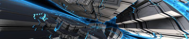 Triple Display Fractal Sci-Fi