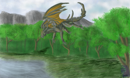Speedpainting forest+dragon by Dragoma