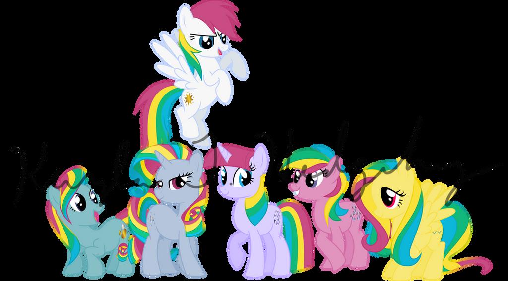 The Original Rainbow Power Ponies by kaylathehedgehog