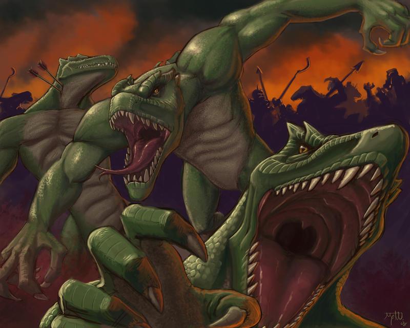 Lizardmen Attack by umbrafox